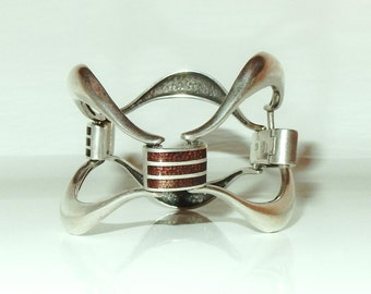 Massive Vintage Mid Century Sterling Silver - Guilloche Enamel Link Bracelet