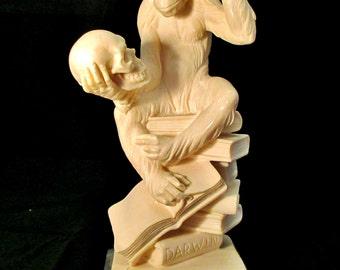 Vintage Ape Statue 'Theory of Evolution' by A. Santini/ Darwin/ Monkey Thinker