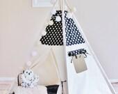 BLACK with Gold Glamour Polka Dot, Canvas, Play House, Teepee, Play Tent, Nursery, Teepee Tent, Kids Teepee, Indoor