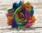 Rainbow Shabby Chic Flower Hair Clip, Colorful Flower Barrette, Girls Alligator Clip, Multicolor Hair Bow, Headband Clip, Barrette