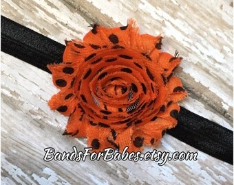 Orange and Black Polkadot Shabby Chic Flower Headband, Halloween Headband, Baby Headband, Toddler Headband, Girls Hair Bow, Elastic