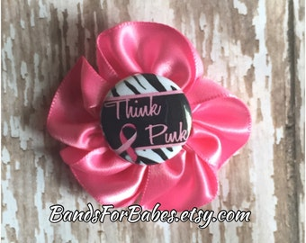 Breast Cancer Awareness Satin Flower Hair Bow, Think Pink Hair Clip, Pink Ribbon Hair Accessory, Alligator Clip, Barrette, Pink Ribbon Bow