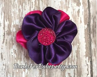CLEARANCE Hot Pink and Plum Satin Flower Hair Clip, Girls Barrette, Alligator Clip, Pink & Purple Hair Bow, Headband Clip, Flower Accessory