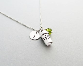 Coffee Cup Initial Necklace Personalized Hand Stamped - with Silver Coffee Cup Charm and Custom Bead