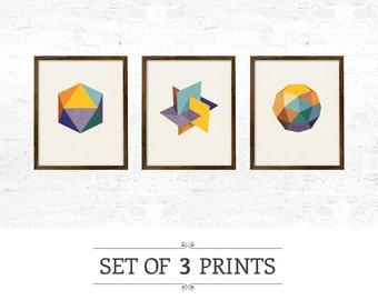 Set of 3 Icosahedron prints. geometric print nordic print scandinavian print geometric poster nordic poster mid century print geometric wall