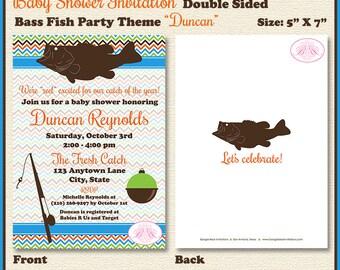bass fish fishing baby shower invitation boy girl chevron reel catch