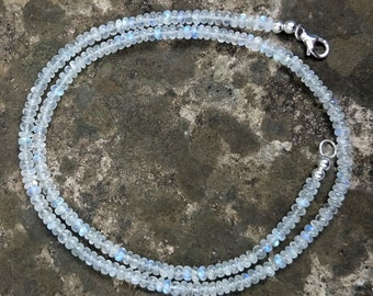 Handmade AAA Rainbow Moonstone Necklace, 20 inch Blue Flash Gemstone & Sterling Silver Delicate Stone Necklace Wedding Jewelry Gifts for Her