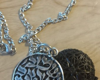 Shema in Hebrew Antique black Filagree Round Locket Essential Oil Diffuser with Dead Sea Clay disks inserts.
