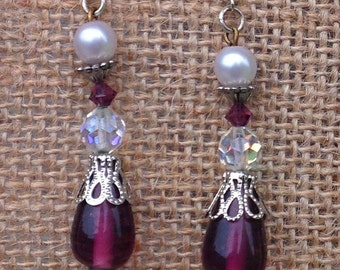 Purple Dangle Earrings with Crystal and Pearl-Pierced