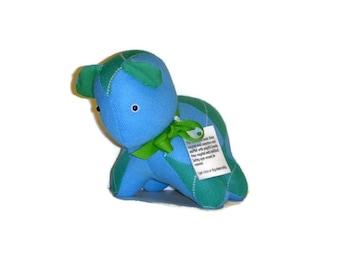 Handmade Turquoise Green Argyle Bear - Felted Sweater Stuffed Animal - Upcycled Puppy Dog Plushie - Eco Friendly Plush Toy