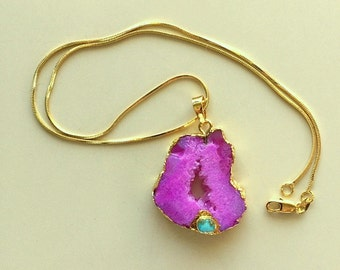 Hot Pink or Rose Crystal Druzy Agate Slice With Real Turquoise Stone Pendant Necklace