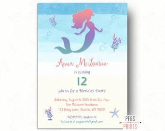 Printable Mermaid Birthday Invitation // Under the Sea Birthday Invitation // Mermaid Invitation Birthday // Watercolor Mermaid Invitations