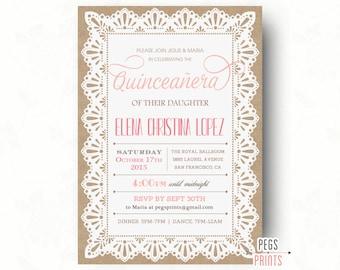 Burlap and Lace Quinceanera Invitation // Quinceanera Invites // Quinceanera Invitation Printable // Quincenera Invitation // Elegant Lace