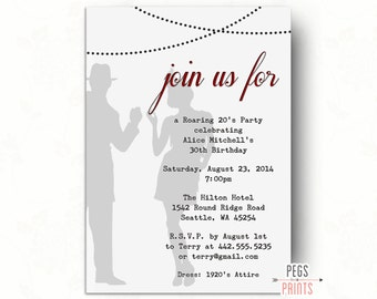 Printable 1920s Invitation // Great Gatsby Birthday Invitation // Great Gatsby Invitation // Roaring 20s Birthday Invitation // Speakeasy