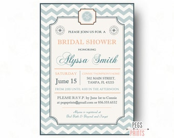 Beach bridal shower invitation Etsy