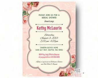 Garden Party Invitation - Shabby Chic Bridal Shower Invitation - Floral Bridal Shower Invites - Rose Bridal Invitations - Bridal Invites