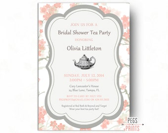 Floral Bridal Shower Tea Party Invitation - Printable Bridal Tea Party Invitation - Tea Party Bridal Shower Invitation - Floral Invitation