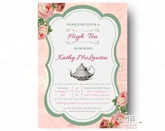 High Tea Bridal Shower Invitation // Floral High Tea Bridal Invitation Printable // Bridal Shower High Tea Invitation // Bridal Shower Tea