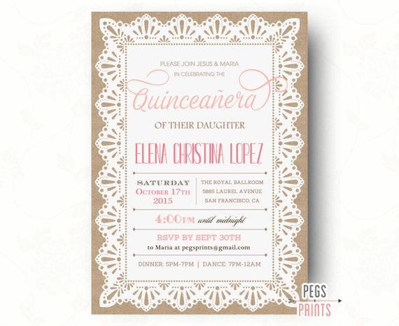 Burlap and lace quinceanera invitation quinceanera invites like this item solutioingenieria Image collections