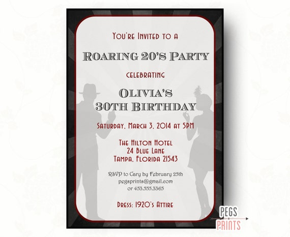 Roaring 20s Invitation Printable 1920s Birthday Invite Great