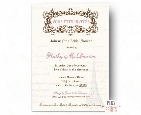 Printable paris bridal shower invitation paris theme party for Paris themed invitations bridal shower