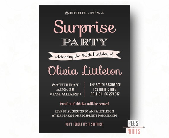 surprise party invitation black typography pink blush invitation
