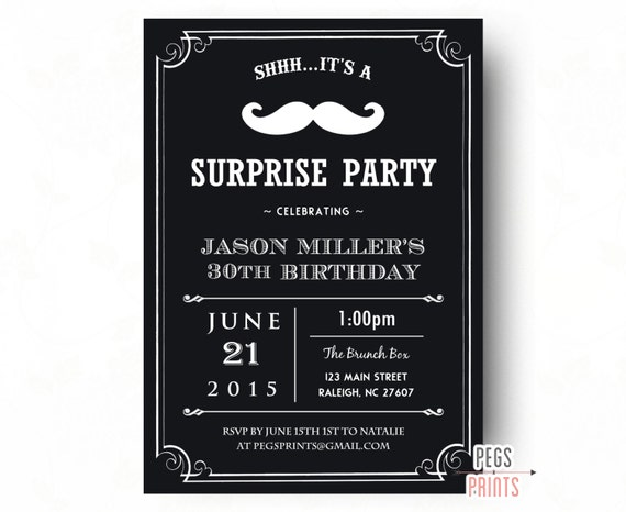 Adult Surprise Birthday Invites Surprise 30th Birthday Invitation