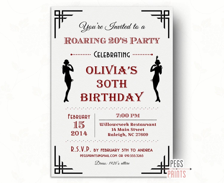 Flapper Girl Birthday Invitation // Printable Roaring 20s Invitation ...