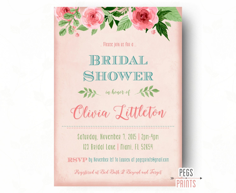 Floral bridal shower invitation printable bridal shower for Flower bridal shower invitations