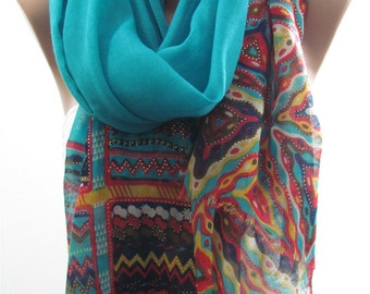 Tribal Cotton Scarf Shawl Multicolor Aztec Scarf Shawl Boho Scarf Cowl Scarf Bohemian Women's Fashion Accessories Christmas Gifts for Her