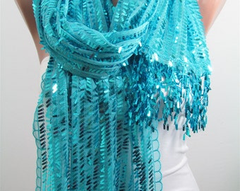 Metallic Turquoise Scarf Shawl Sequin Scarf Sparkle Scarf Turquoise Wedding Scarf Winter Holiday Fashion Accessories Christmas Gifts For Her
