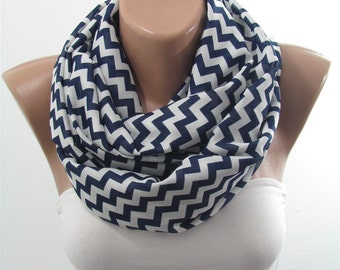 Chevron Infinity Scarf Zig Zag Scarf Geometric Navy and White Scarf Mothers Day Christmas Gift For Her Fashion Gift for Mom Gift for Wife