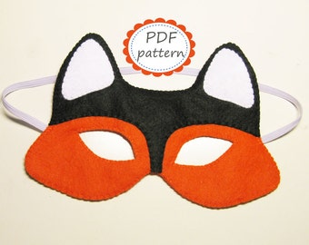PDF PATTERN Fox felt mask sewing tutorial instruction DIY handmade orange forest animal costume accessory for boy girl adult Dress up play