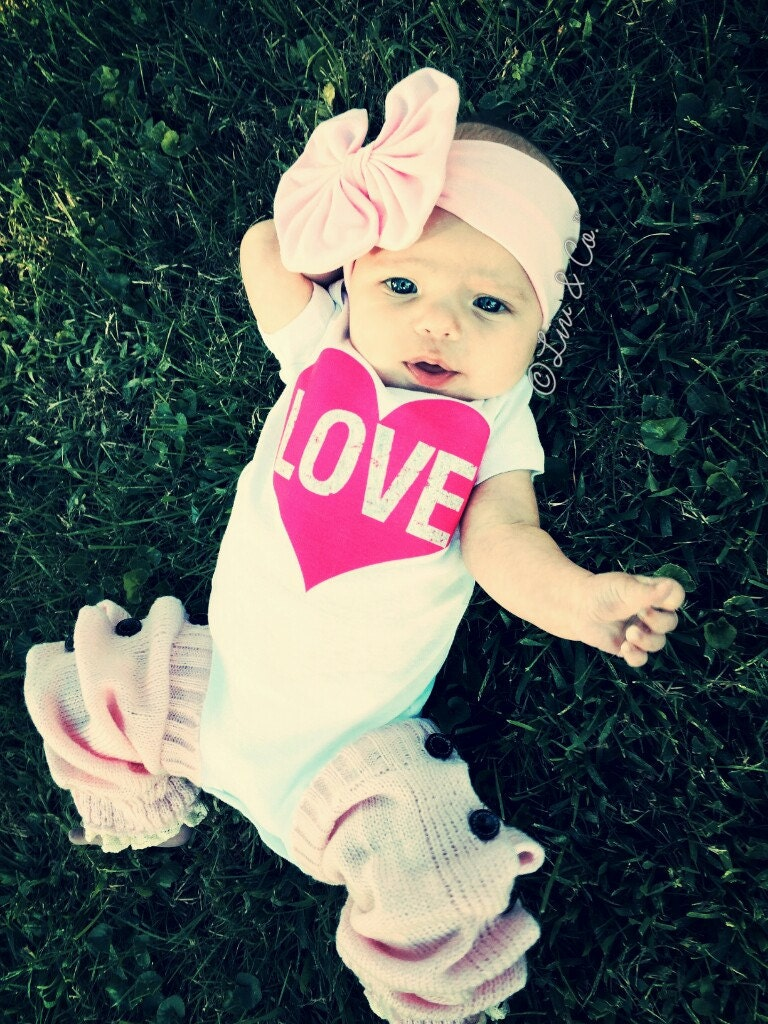Baby Girl Clothes Love Heart Valentines Day by