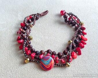 Crochet Beaded Anklet. Crochet Jewelry. Beach anklet. Crochet Beaded Bracelet. Coral Bracelet.