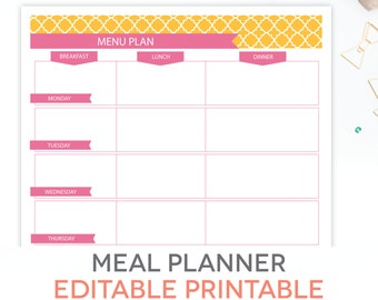 Menu Plan, Weekly Meal Planning Template Printable   EDITABLE PDF    Breakfast, Lunch,