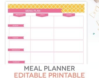 Menu Plan, Weekly Meal Planning Template Printable - EDITABLE PDF - Breakfast, Lunch, Dinner Planner
