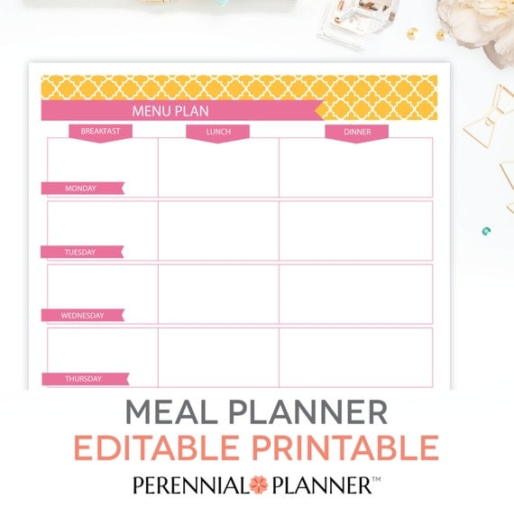Menu plan weekly meal planning template printable editable for Free weekly meal planner template