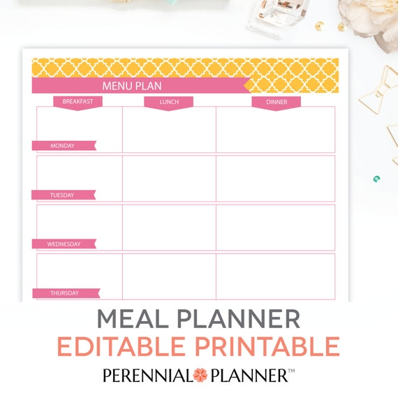 Menu Plan, Weekly Meal Planning Template Printable   EDITABLE PDF    Breakfast, Lunch, Dinner Planner