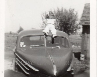 Vintage Photo ~ abstract hot rod girl ~ artful composition ~ little driver