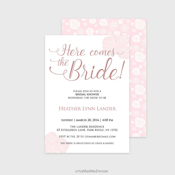 Instant Download - Printable bridal shower invitation - pink peonies