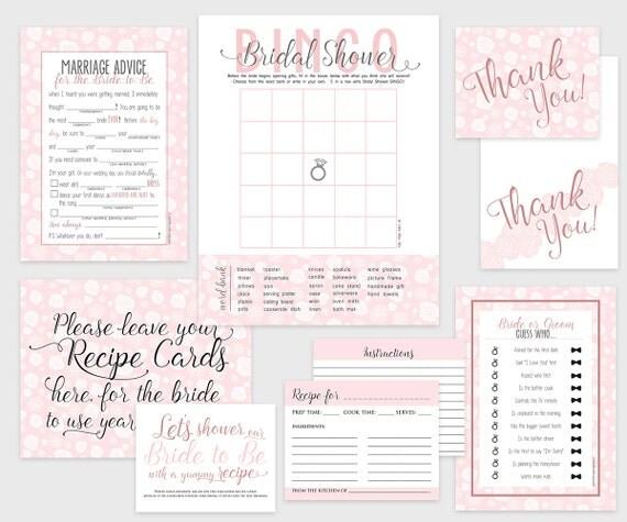Bridal Shower Bundle - Instant Download - Printable bridal shower games, recipe card, signs, thank you cards