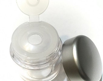 Silver Lid Empty Jar Set - Powder Sifter Makeup Jars - Empty Single Hole Sifter - Makeup Refill jar - Craft Glitter Jar