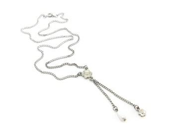 Vintage Flower Necklace, Faux Pearl Drop, Silver Tone