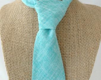 Men's Necktie - Aqua Cotton Linen - SKINNY or SLIM