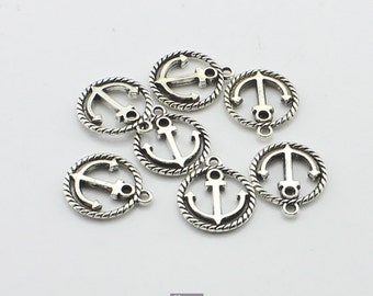 25pcs 15x18mm Antique Silver Anchor Charm Connector