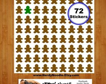 Gingerbread Man Planner Stickers, 72, Gingerbread Man Stickers, Gingerbread Man Sticker Set, Gingerbread Man Envelope Seals, Christmas