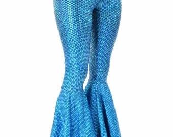 Aquamarine Scale High Waist Mermaid Bell Bottom Flare Pants 151599