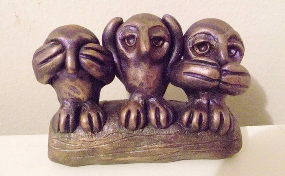 See Hear Speak No Evil In Owls Sculpted In Polymer By