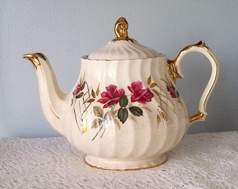 Sadler Ivory Gold and Red Rose Swirl Teapot - Made in England
